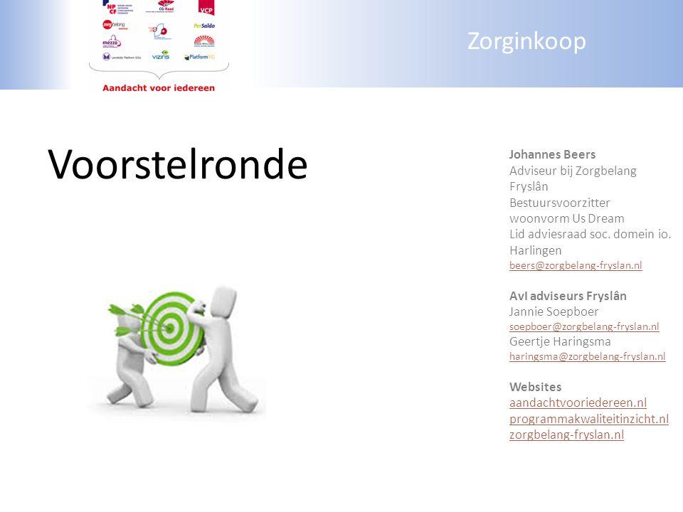 Zorginkoop Voorstelronde Johannes Beers Adviseur bij Zorgbelang Fryslân Bestuursvoorzitter woonvorm Us Dream Lid adviesraad soc. domein io. Harlingen