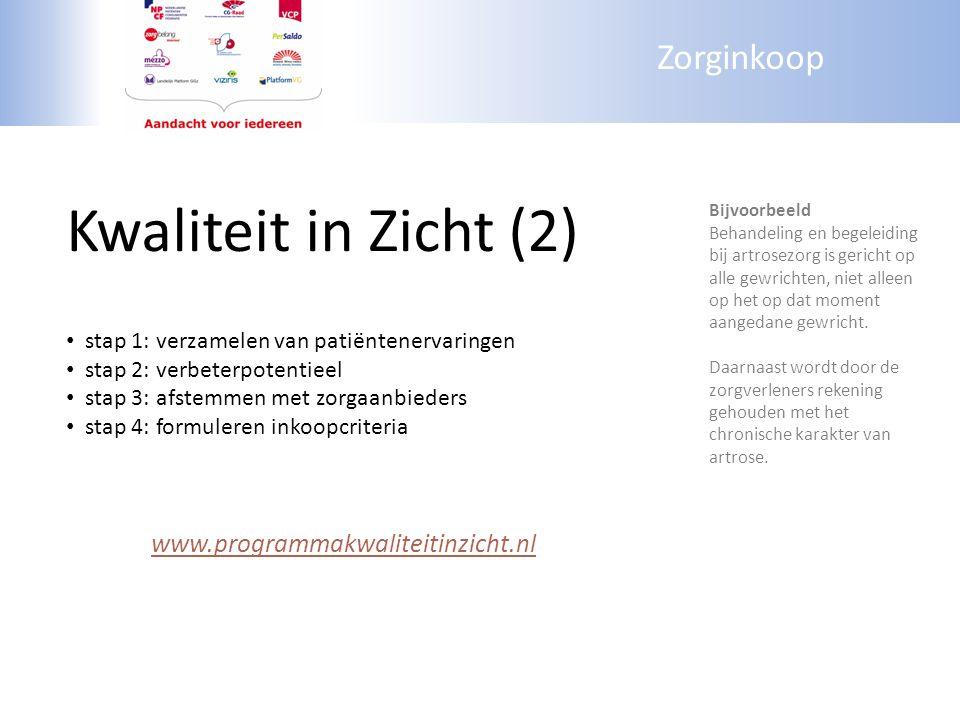 Zorginkoop Kwaliteit in Zicht (2) stap 1: verzamelen van patiëntenervaringen stap 2: verbeterpotentieel stap 3: afstemmen met zorgaanbieders stap 4: f