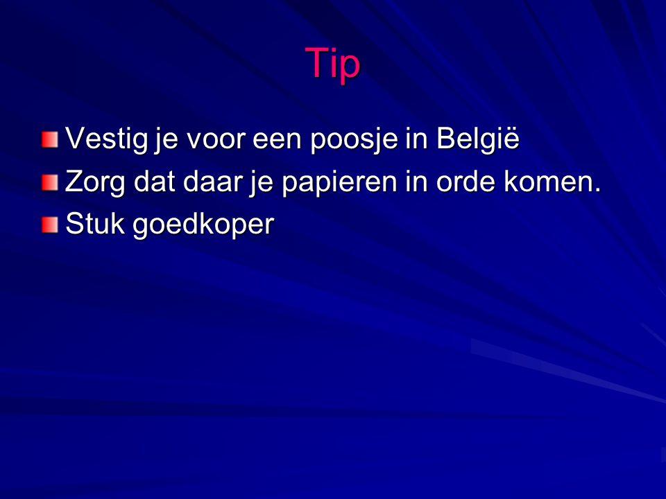 Tip Vestig je voor een poosje in België Zorg dat daar je papieren in orde komen. Stuk goedkoper