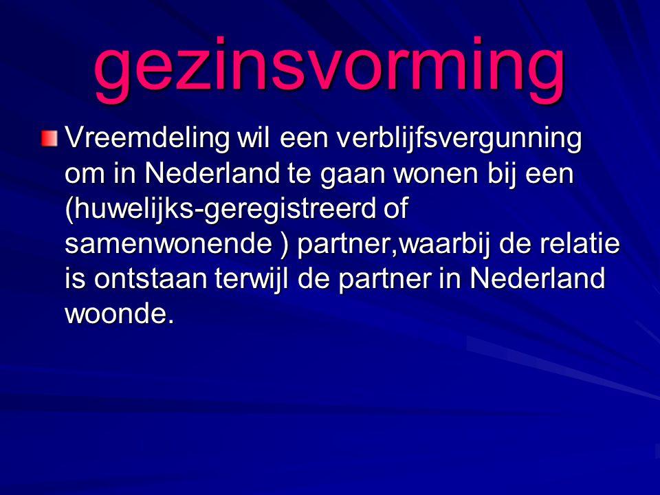 gezinsvorming Vreemdeling wil een verblijfsvergunning om in Nederland te gaan wonen bij een (huwelijks-geregistreerd of samenwonende ) partner,waarbij de relatie is ontstaan terwijl de partner in Nederland woonde.