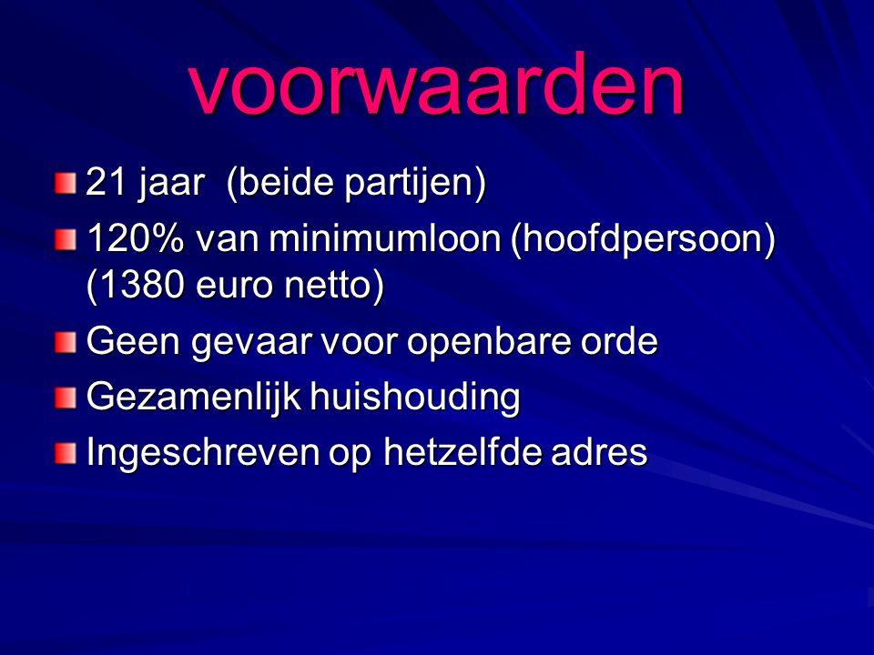 voorwaarden 21 jaar (beide partijen) 120% van minimumloon (hoofdpersoon) (1380 euro netto) Geen gevaar voor openbare orde Gezamenlijk huishouding Ingeschreven op hetzelfde adres