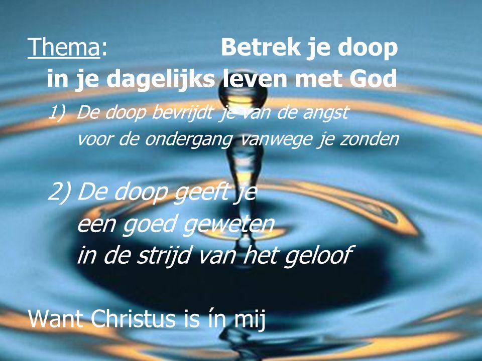 De doop wast niet het vuil van je lichaam weg  Het water wast geen erfzonde weg (H.C. Zd. 25)
