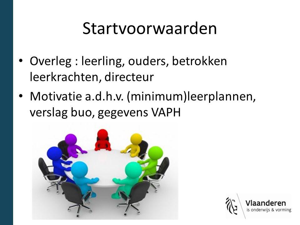 Startvoorwaarden Overleg : leerling, ouders, betrokken leerkrachten, directeur Motivatie a.d.h.v.