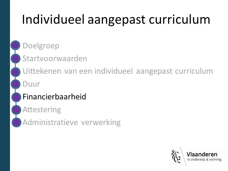 Individueel aangepast curriculum Doelgroep Startvoorwaarden Uittekenen van een individueel aangepast curriculum Duur Financierbaarheid Attestering Administratieve verwerking