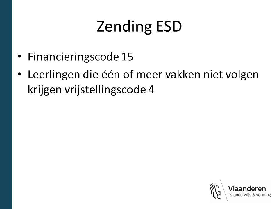 Zending ESD Financieringscode 15 Leerlingen die één of meer vakken niet volgen krijgen vrijstellingscode 4
