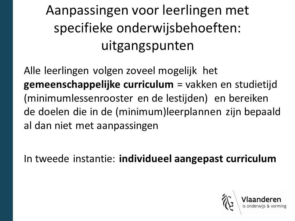 Samenvattend stroomschema Leerling met specifieke onderwijs- behoeften Geen aanpassingen Aanpassingen binnen het gemeenschappelijk curriculum Leerling buo of VAPH nee ja individueel aangepast curriculum