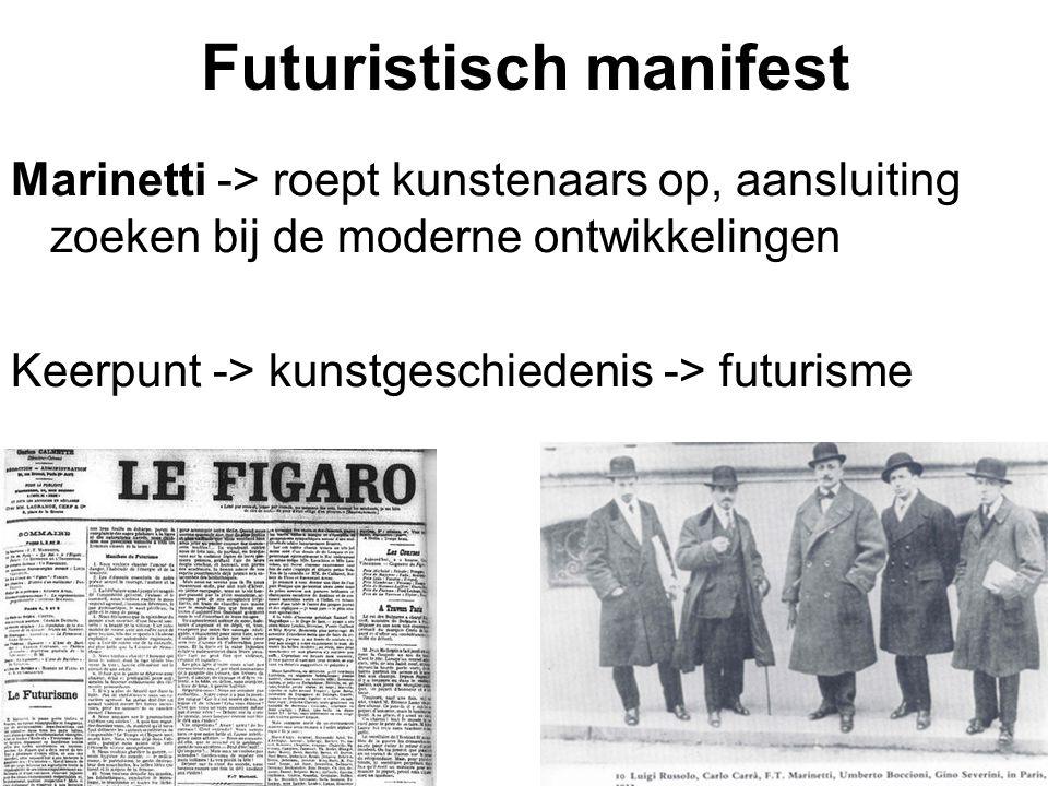 Futuristisch manifest Marinetti -> roept kunstenaars op, aansluiting zoeken bij de moderne ontwikkelingen Keerpunt -> kunstgeschiedenis -> futurisme