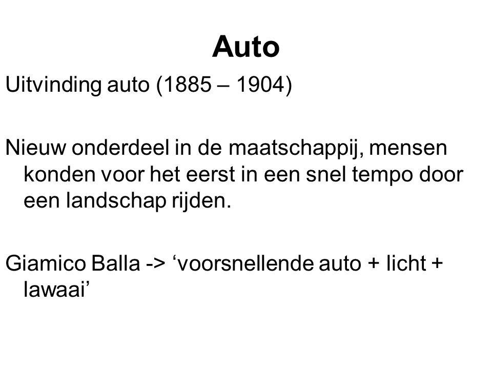 Auto Uitvinding auto (1885 – 1904) Nieuw onderdeel in de maatschappij, mensen konden voor het eerst in een snel tempo door een landschap rijden. Giami