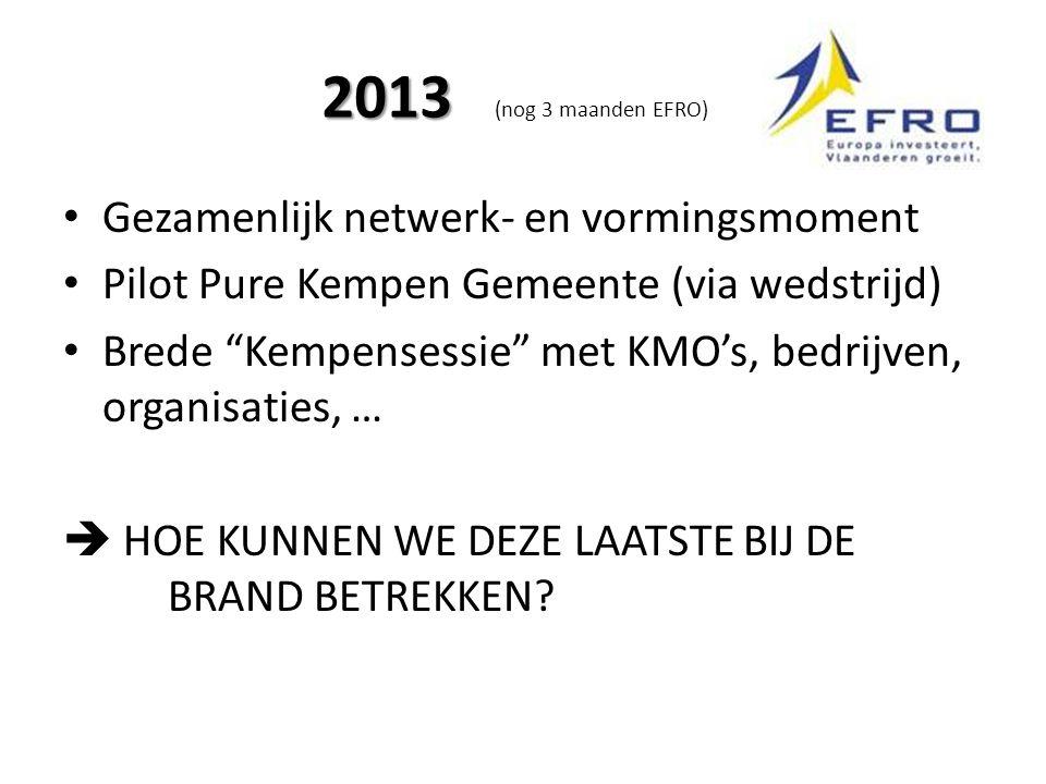 2013 2013 (nog 3 maanden EFRO) Gezamenlijk netwerk- en vormingsmoment Pilot Pure Kempen Gemeente (via wedstrijd) Brede Kempensessie met KMO's, bedrijven, organisaties, …  HOE KUNNEN WE DEZE LAATSTE BIJ DE BRAND BETREKKEN?