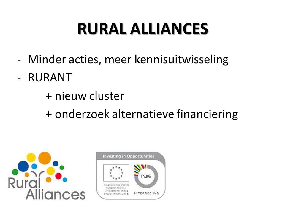 RURAL ALLIANCES -Minder acties, meer kennisuitwisseling -RURANT + nieuw cluster + onderzoek alternatieve financiering