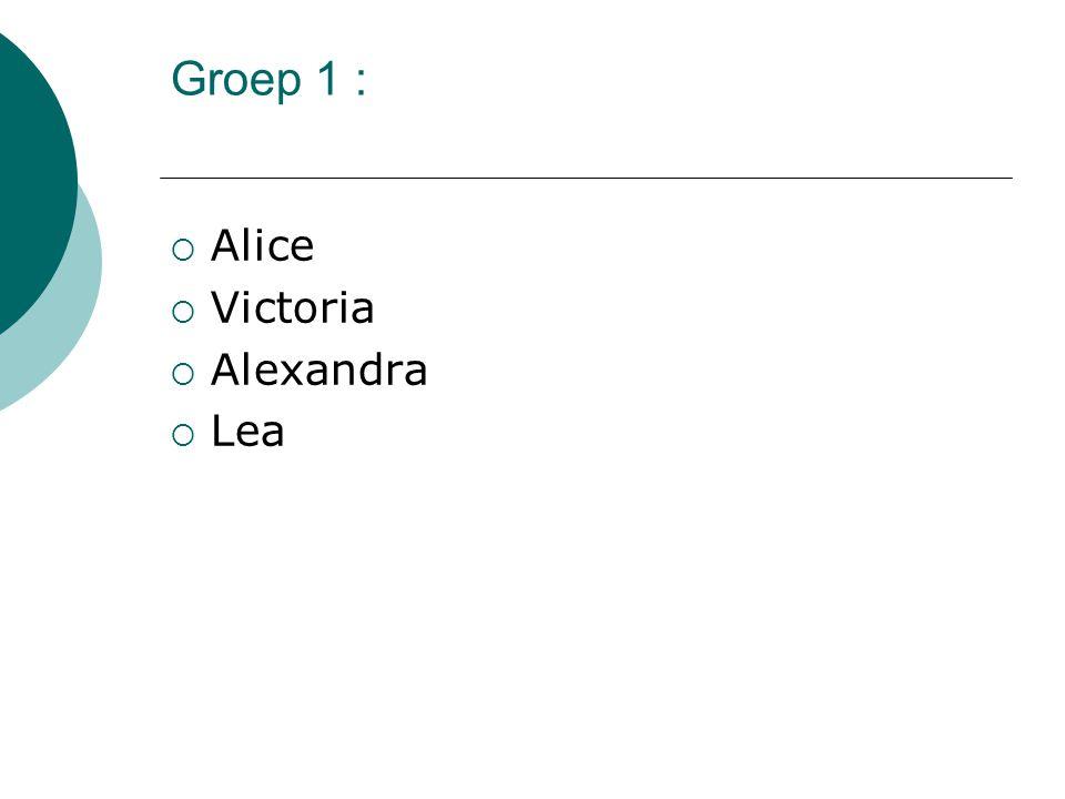 Groep 1 :  Alice  Victoria  Alexandra  Lea