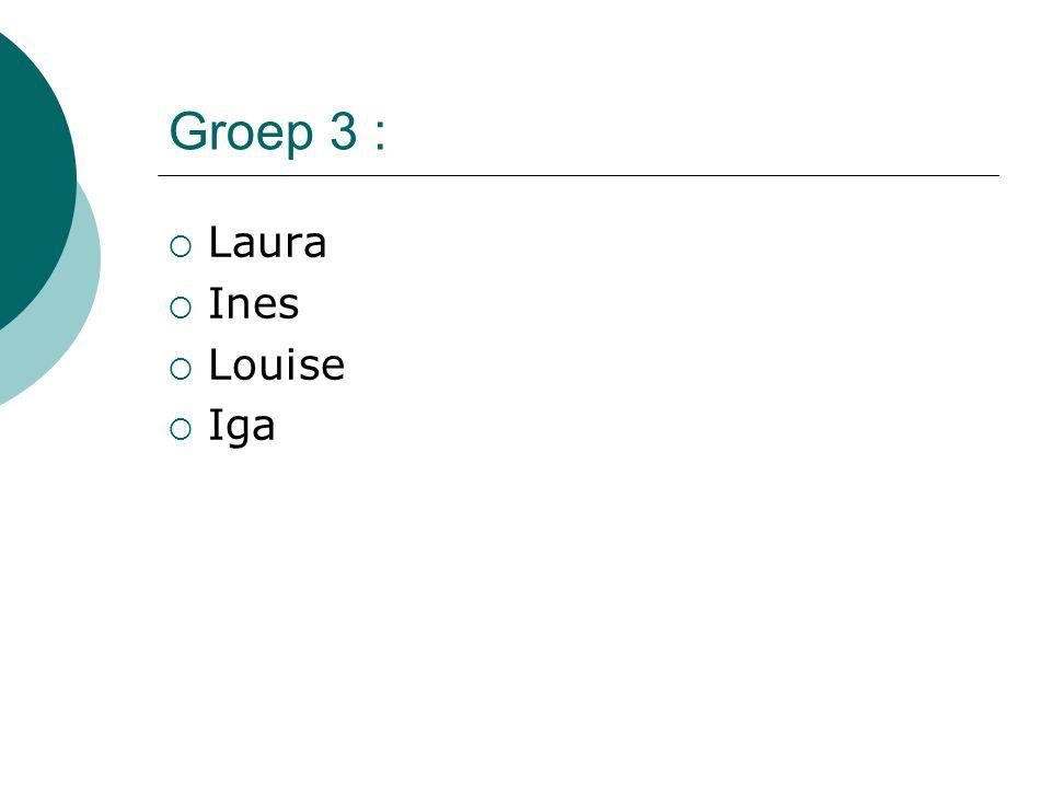 Groep 3 :  Laura  Ines  Louise  Iga