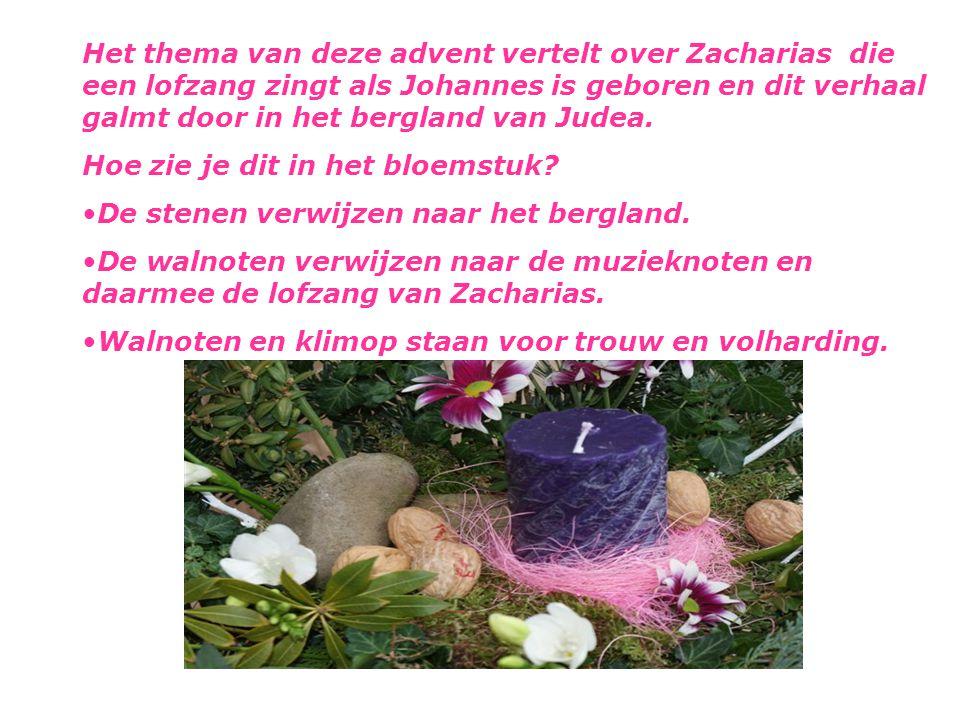 Het thema van deze advent vertelt over Zacharias die een lofzang zingt als Johannes is geboren en dit verhaal galmt door in het bergland van Judea. Ho