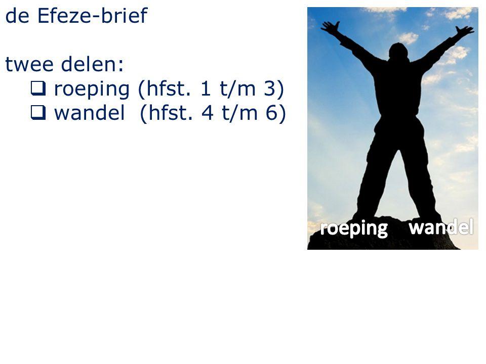 de Efeze-brief twee delen:  roeping (hfst. 1 t/m 3)  wandel (hfst. 4 t/m 6)
