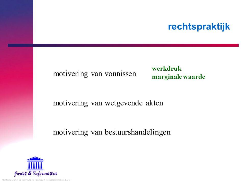 rechtspraktijk motivering van vonnissen motivering van wetgevende akten motivering van bestuurshandelingen werkdruk marginale waarde