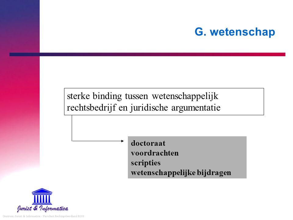 G. wetenschap sterke binding tussen wetenschappelijk rechtsbedrijf en juridische argumentatie doctoraat voordrachten scripties wetenschappelijke bijdr