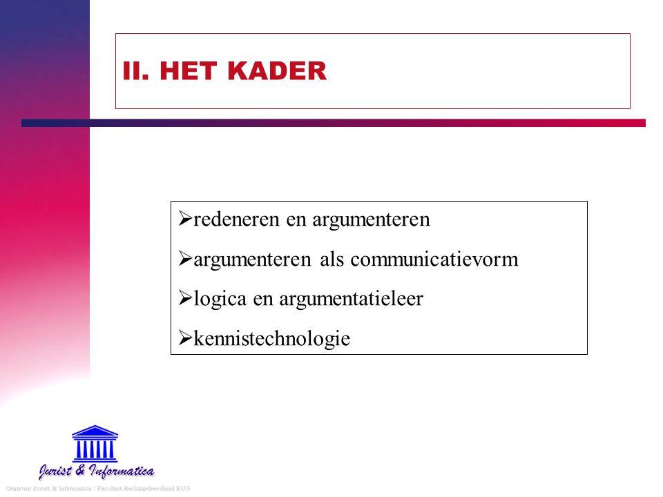 II. HET KADER  redeneren en argumenteren  argumenteren als communicatievorm  logica en argumentatieleer  kennistechnologie