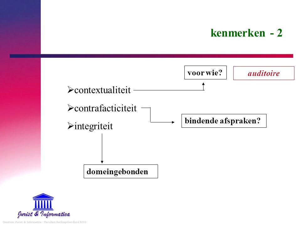 kenmerken - 2  contextualiteit  contrafacticiteit  integriteit voor wie? bindende afspraken? domeingebonden auditoire