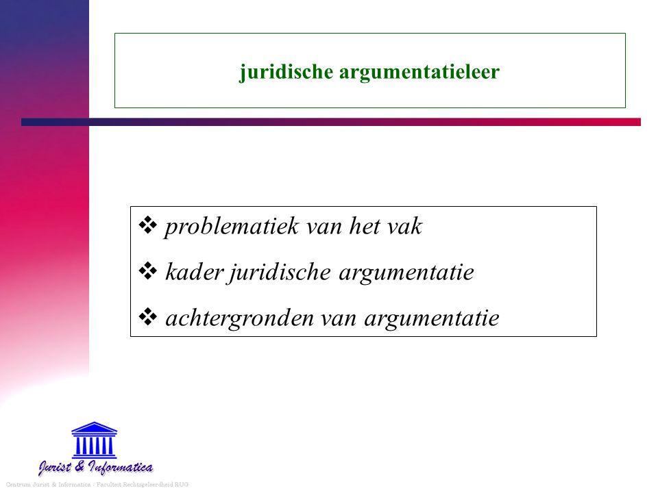 juridische argumentatieleer  problematiek van het vak  kader juridische argumentatie  achtergronden van argumentatie