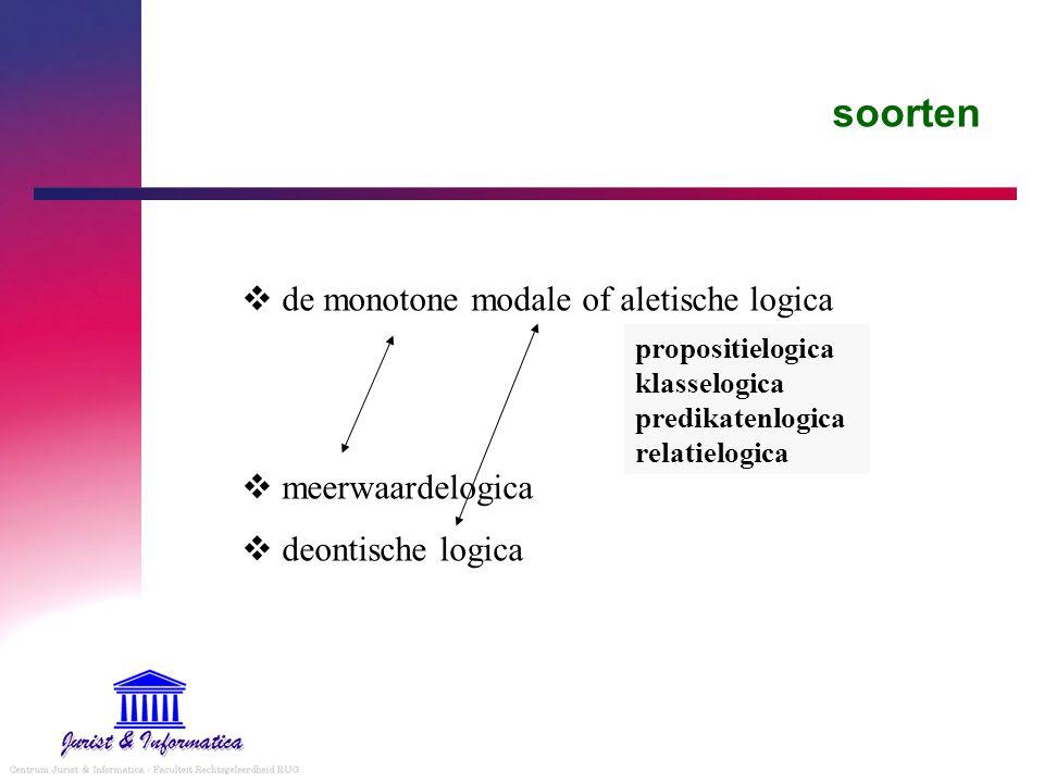 soorten  de monotone modale of aletische logica  meerwaardelogica  deontische logica propositielogica klasselogica predikatenlogica relatielogica