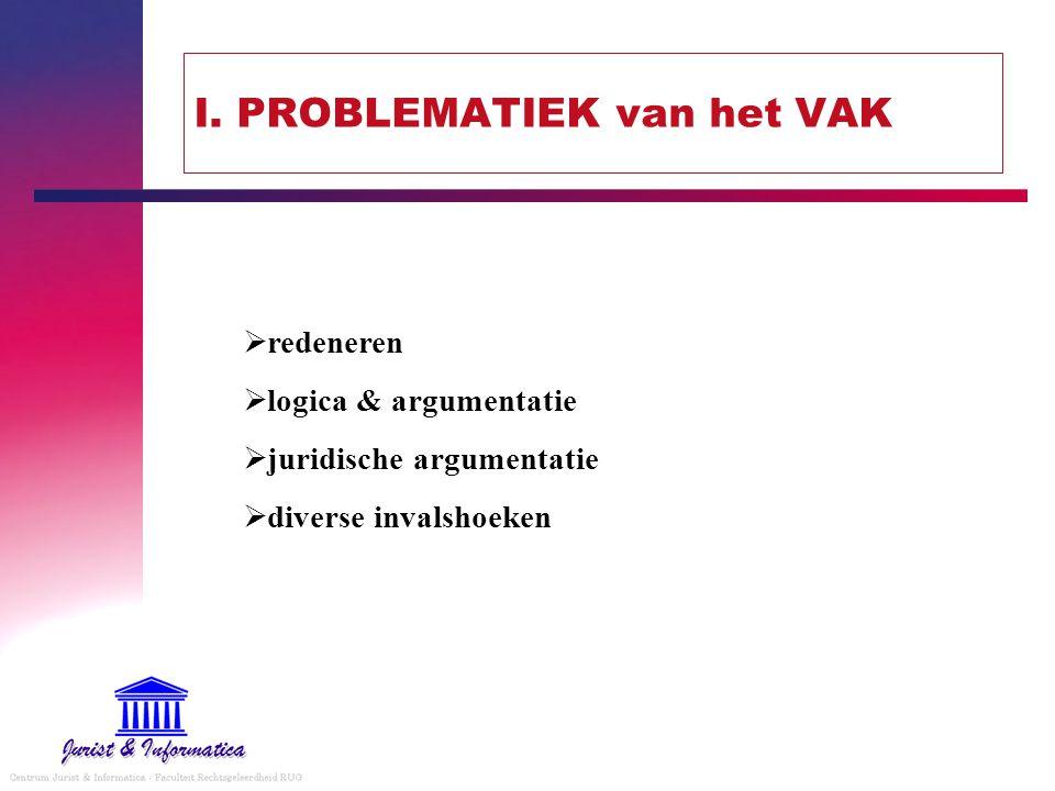 I. PROBLEMATIEK van het VAK  redeneren  logica & argumentatie  juridische argumentatie  diverse invalshoeken