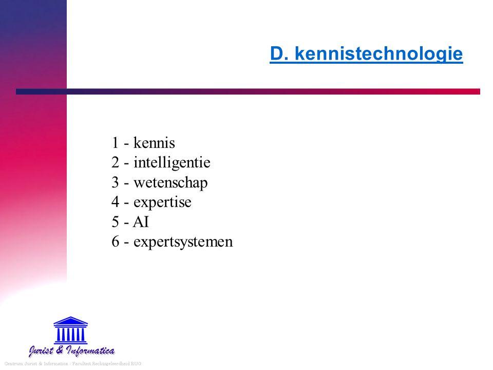 D. kennistechnologie 1 - kennis 2 - intelligentie 3 - wetenschap 4 - expertise 5 - AI 6 - expertsystemen