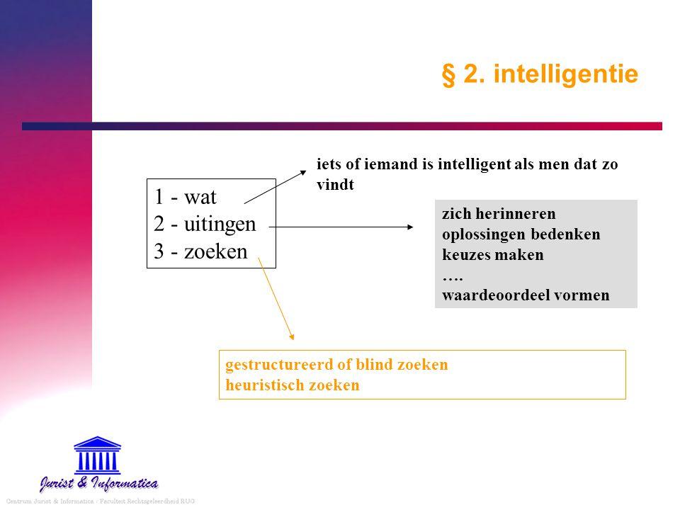 § 2. intelligentie 1 - wat 2 - uitingen 3 - zoeken iets of iemand is intelligent als men dat zo vindt zich herinneren oplossingen bedenken keuzes make