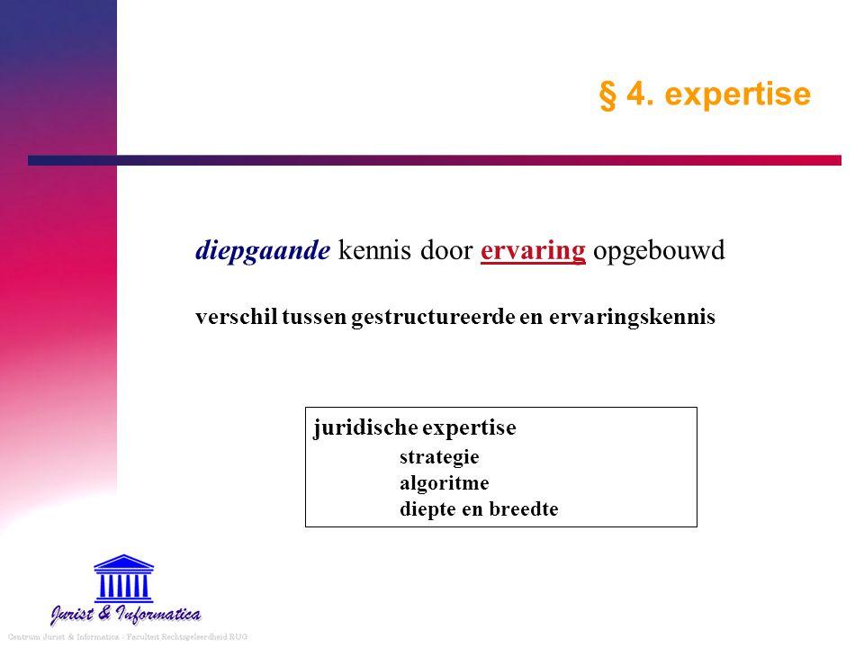 § 4. expertise diepgaande kennis door ervaring opgebouwd verschil tussen gestructureerde en ervaringskennis juridische expertise strategie algoritme d