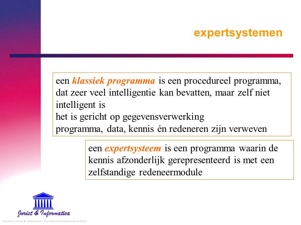 expertsystemen een klassiek programma is een procedureel programma, dat zeer veel intelligentie kan bevatten, maar zelf niet intelligent is het is ger