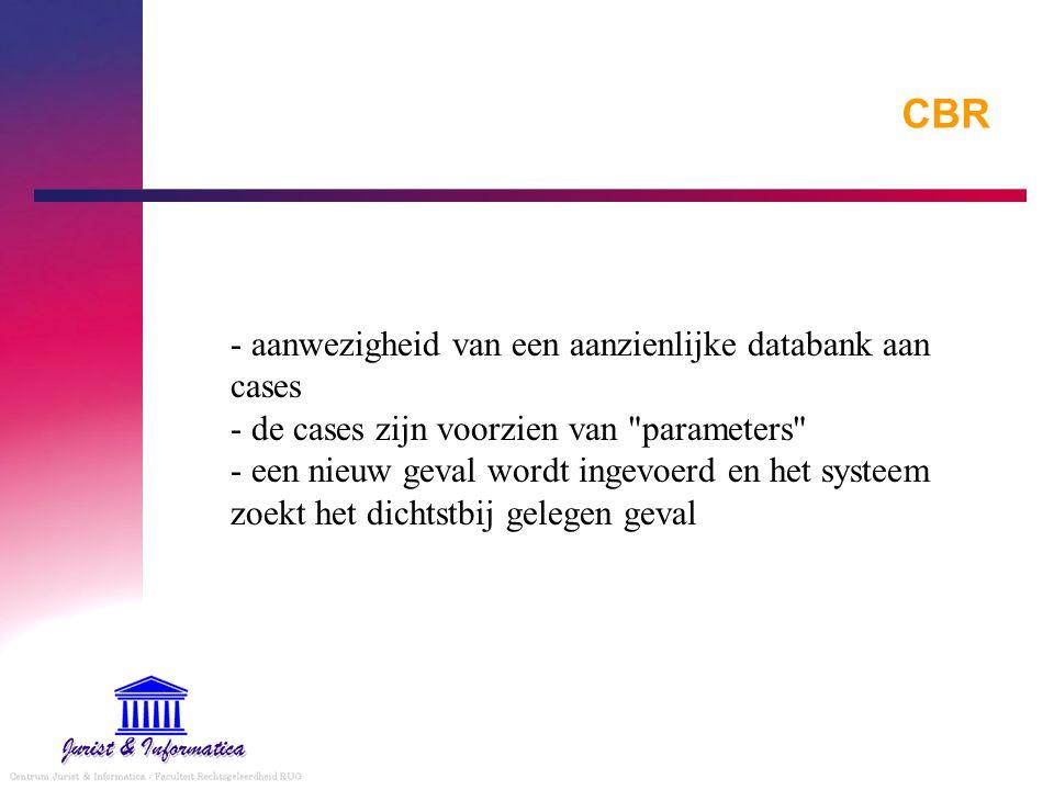 CBR - aanwezigheid van een aanzienlijke databank aan cases - de cases zijn voorzien van