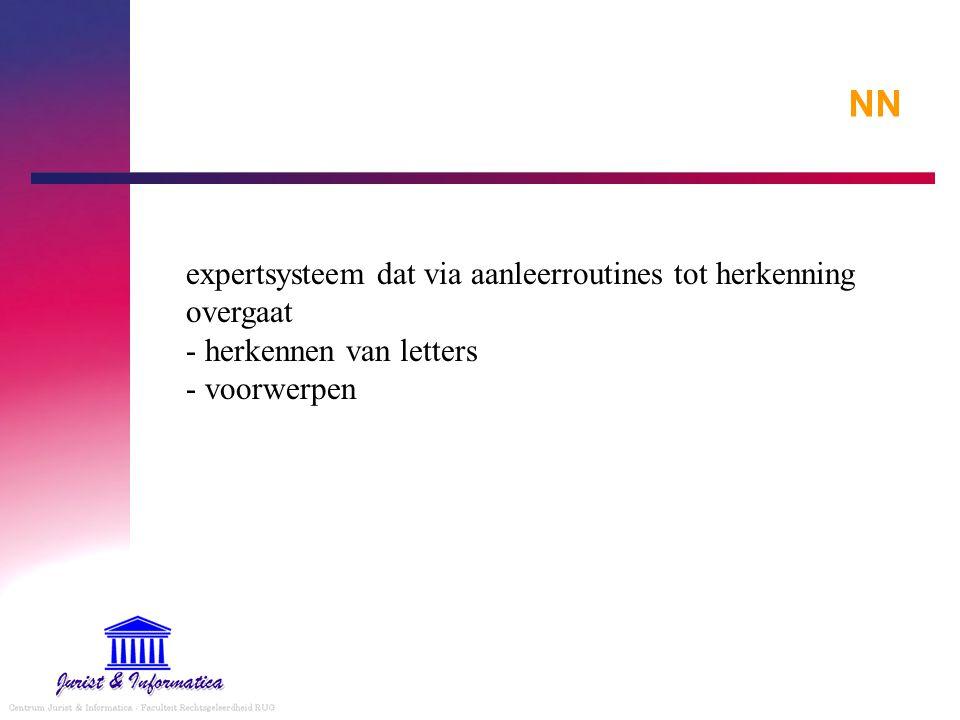NN expertsysteem dat via aanleerroutines tot herkenning overgaat - herkennen van letters - voorwerpen