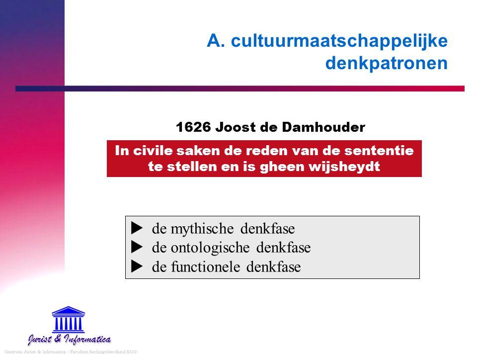 A. cultuurmaatschappelijke denkpatronen  de mythische denkfase  de ontologische denkfase  de functionele denkfase In civile saken de reden van de s