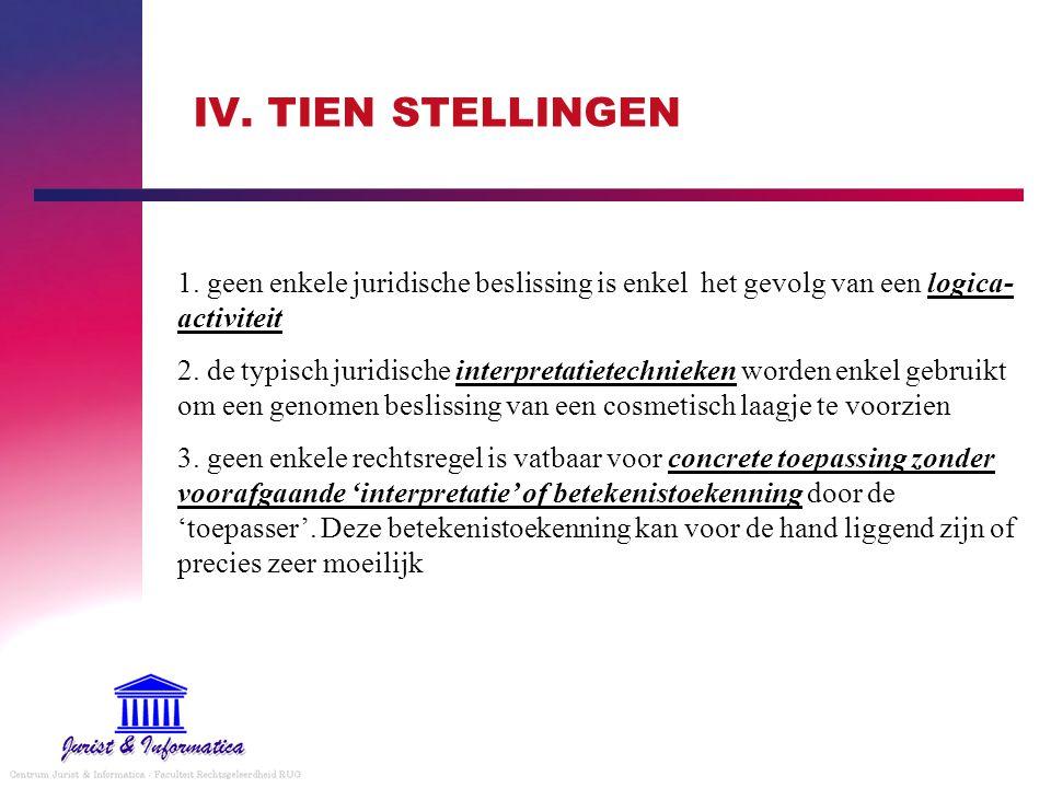 IV. TIEN STELLINGEN 1. geen enkele juridische beslissing is enkel het gevolg van een logica- activiteit 2. de typisch juridische interpretatietechniek
