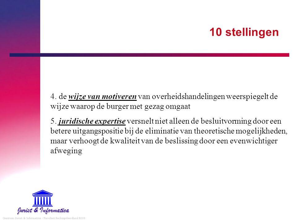 10 stellingen 4. de wijze van motiveren van overheidshandelingen weerspiegelt de wijze waarop de burger met gezag omgaat 5. juridische expertise versn