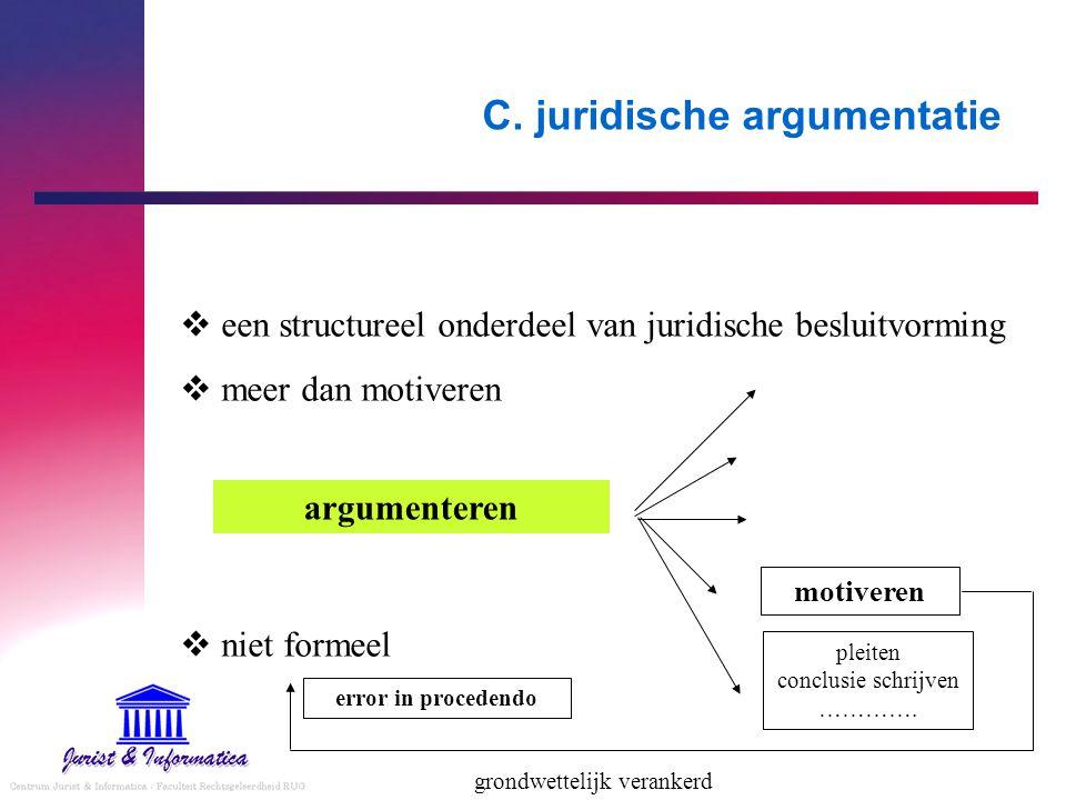 C. juridische argumentatie  een structureel onderdeel van juridische besluitvorming  meer dan motiveren  niet formeel argumenteren motiveren pleite