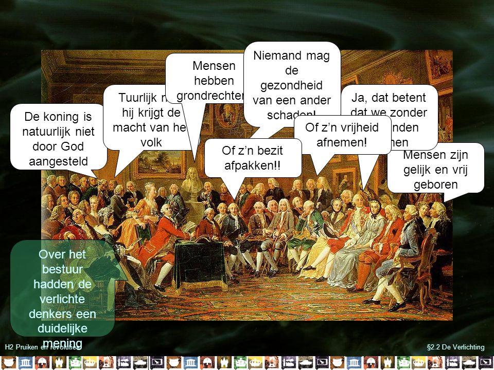 §2.2 De VerlichtingH2 Pruiken en revoluties John Locke -De koning mag geen absolute macht hebben -Hij moet de macht delen met vertegenwoordigers van het volk -Als de koning de macht niet wil delen mag het volk hem afzetten Het volk geeft een deel van zijn rechten aan de koning Veiligheid Rechtelijke macht Mensen- rechten Sociaal contract