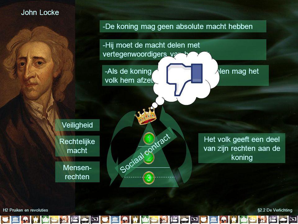 §2.2 De VerlichtingH2 Pruiken en revoluties John Locke -De koning mag geen absolute macht hebben -Hij moet de macht delen met vertegenwoordigers van h
