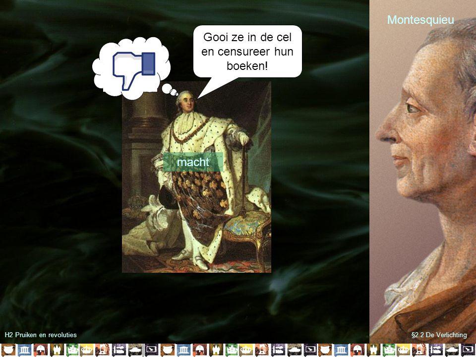 H2 Pruiken en revoluties§2.2 De Verlichting Montesquieu Wetgevende macht Uitvoerende macht Rechterlijke macht macht Gooi ze in de cel en censureer hun