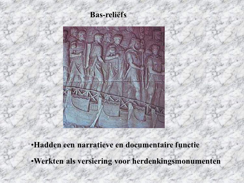 Bas-reliëfs Hadden een narratieve en documentaire functie Werkten als versiering voor herdenkingsmonumenten