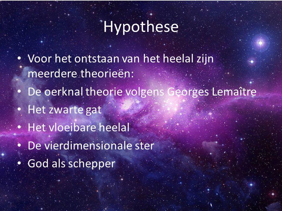 Hypothese Voor het ontstaan van het heelal zijn meerdere theorieën: De oerknal theorie volgens Georges Lemaître Het zwarte gat Het vloeibare heelal De