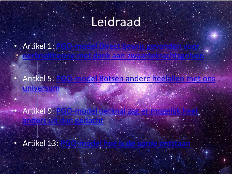 Leidraad Artikel 1: PGO-model Direct bewijs gevonden voor oerknaltheorie met dank aan zwaartekrachtsgolvenPGO-model Direct bewijs gevonden voor oerkna