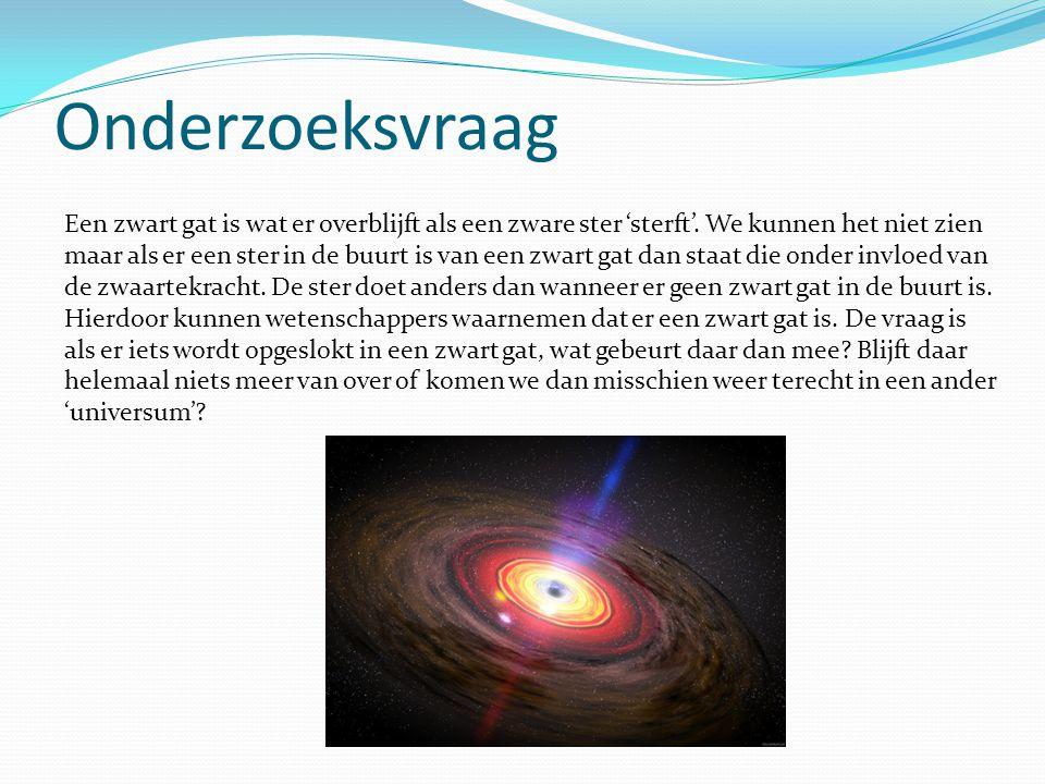Onderzoeksvraag Een zwart gat is wat er overblijft als een zware ster 'sterft'. We kunnen het niet zien maar als er een ster in de buurt is van een zw