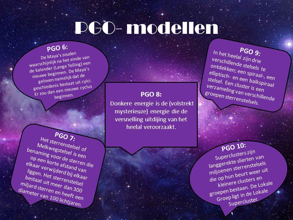 PGO- modellen PGO 8: Donkere energie is de (volstrekt mysterieuze) energie die de versnelling uitdijing van het heelal veroorzaakt. PGO 6: De Maya's z