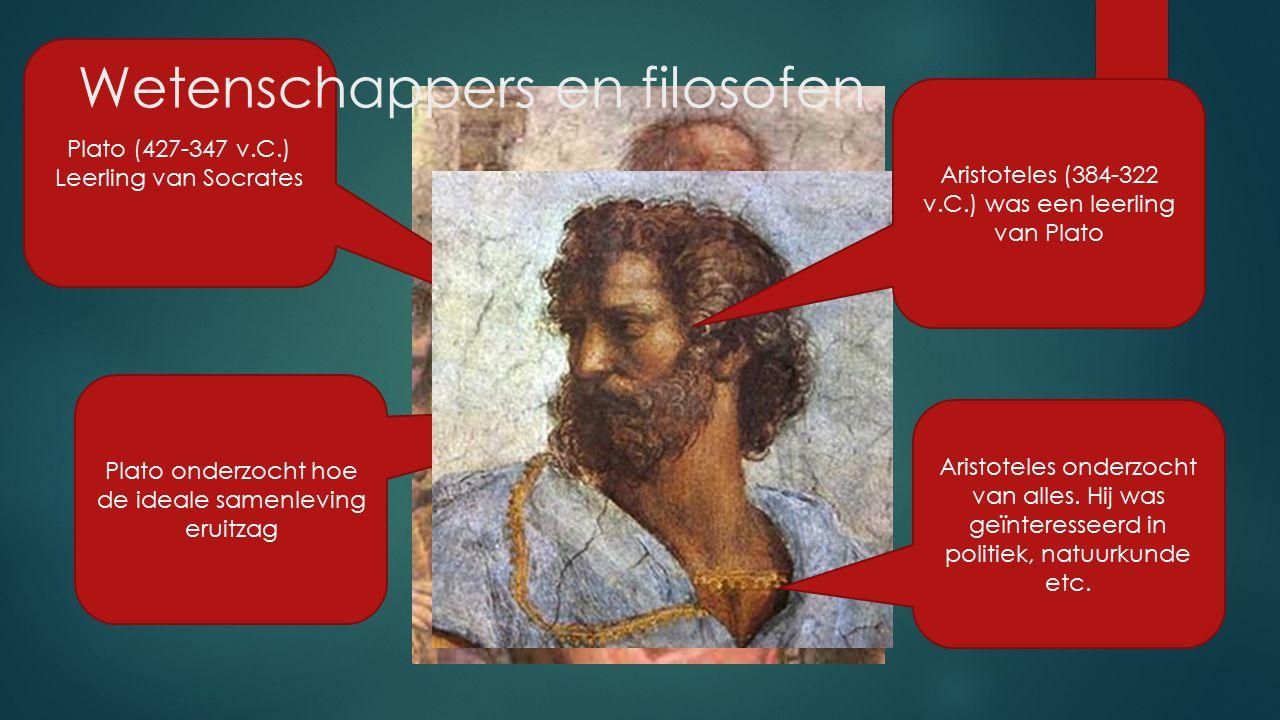Plato onderzocht hoe de ideale samenleving eruitzag Plato (427-347 v.C.) Leerling van Socrates Aristoteles (384-322 v.C.) was een leerling van Plato A