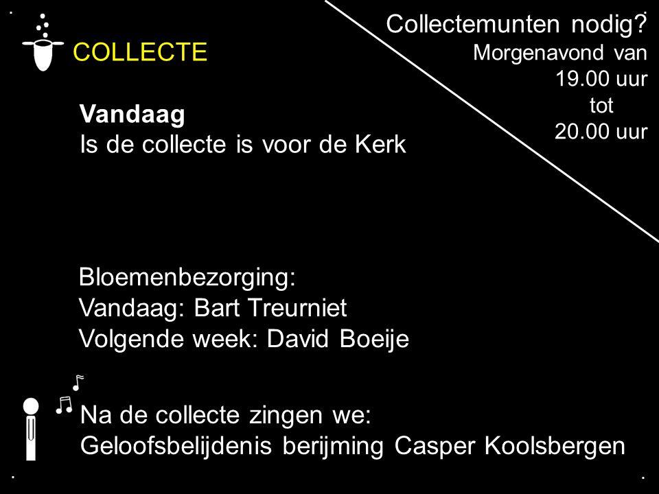 .... COLLECTE Vandaag Is de collecte is voor de Kerk Bloemenbezorging: Vandaag: Bart Treurniet Volgende week: David Boeije Na de collecte zingen we: G