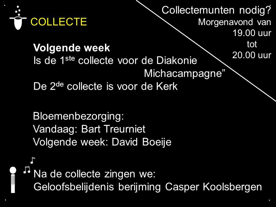 """.... COLLECTE Volgende week Is de 1 ste collecte voor de Diakonie Michacampagne"""" De 2 de collecte is voor de Kerk Bloemenbezorging: Vandaag: Bart Treu"""