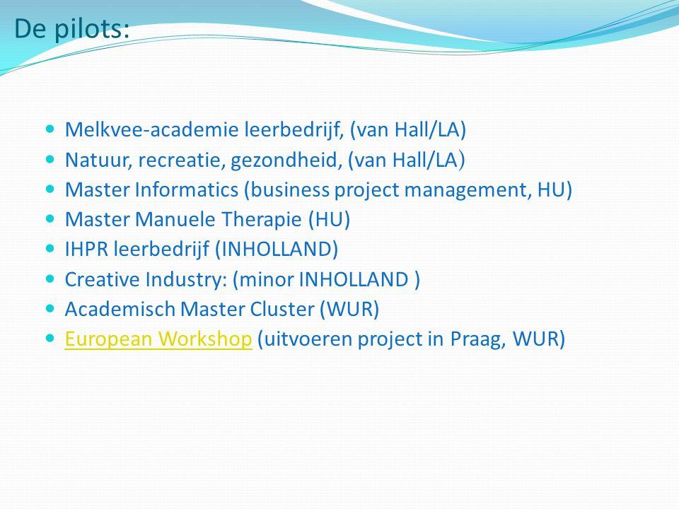 De pilots: Melkvee-academie leerbedrijf, (van Hall/LA) Natuur, recreatie, gezondheid, (van Hall/LA) Master Informatics (business project management, HU) Master Manuele Therapie (HU) IHPR leerbedrijf (INHOLLAND) Creative Industry: (minor INHOLLAND ) Academisch Master Cluster (WUR) European Workshop (uitvoeren project in Praag, WUR) European Workshop