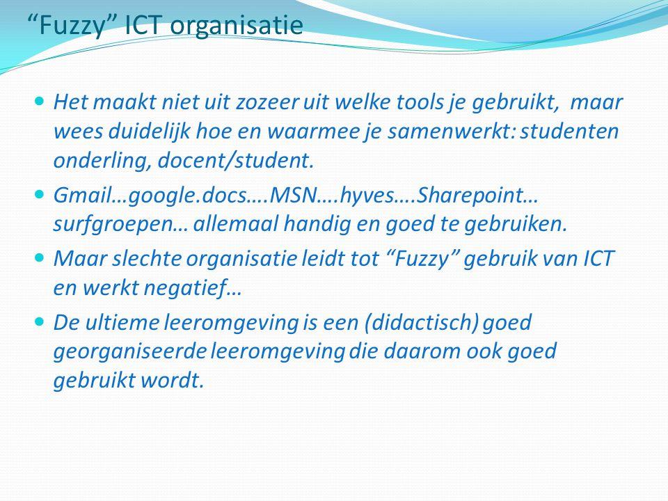 Fuzzy ICT organisatie Het maakt niet uit zozeer uit welke tools je gebruikt, maar wees duidelijk hoe en waarmee je samenwerkt: studenten onderling, docent/student.