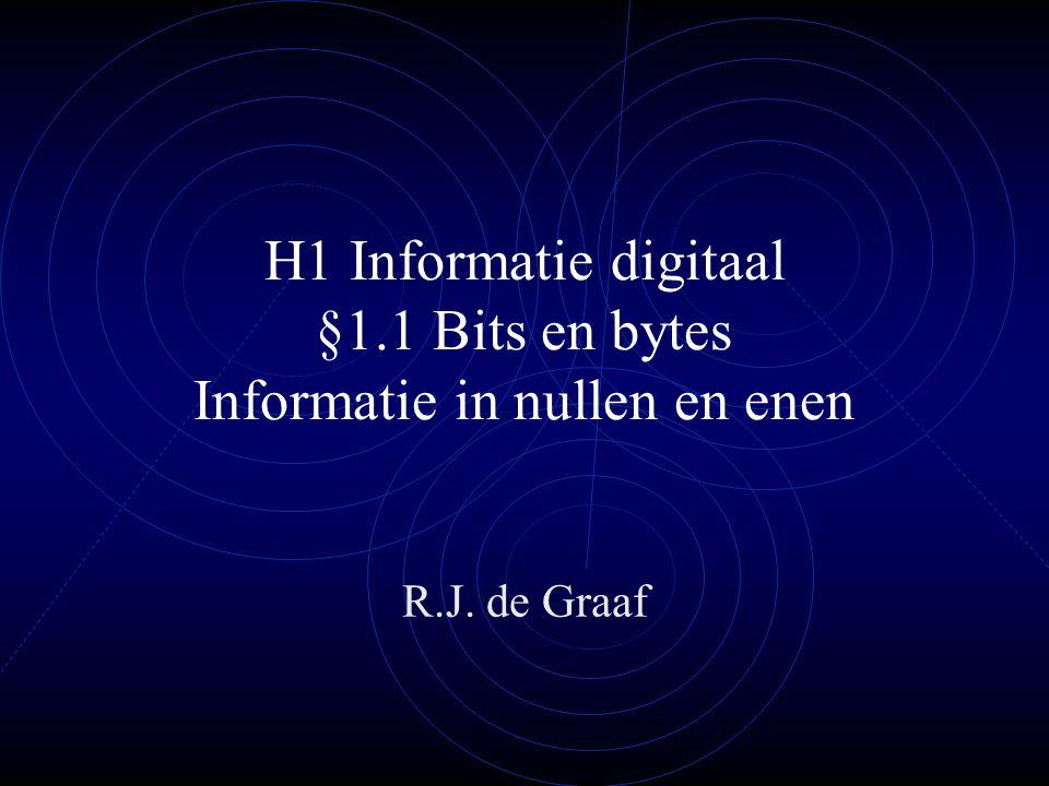 H1 Informatie digitaal §1.1 Bits en bytes Informatie in nullen en enen R.J. de Graaf