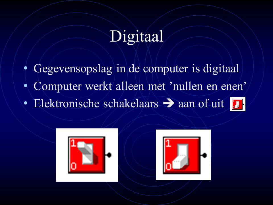 Digitaal Gegevensopslag in de computer is digitaal Computer werkt alleen met 'nullen en enen' Elektronische schakelaars  aan of uit